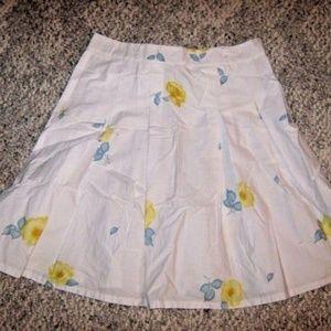 White w/ Yellow Blue Floral Flare Full Knee Skirt